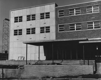 Construction of Blazer Hall nearly complete. This photo taken of the front entrance of Blazer Hall. Received February 13, 1962 from Public Relations