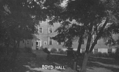 Front of Boyd Hall, a woman's dormitory. Boyd Hall was built in 1925 and was named after Cleona Boyd