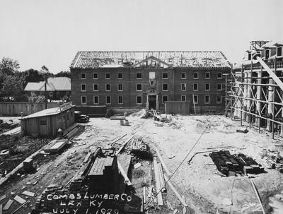 Construction of Breckinridge Hall, men's dormitory. Breckinridge Hall was named after William Campbell Preston Breckinridge. Photographer: La Fayette Studio