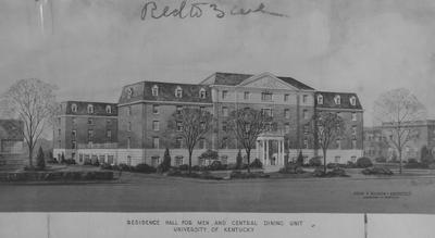 Architects drawing of Donovan Hall considered plan, but it is not the style that was built. Donovan Hall is a residence hall for men and the central dining unit. Donovan Hall was named after former University of Kentucky President Herman L. Donovan. Architect: John F. Wilson