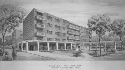 Architects' new drawing of Donovan Hall.  Donovan Hall is a residence hall for men and the central dining unit. Donovan Hall was named after former University of Kentucky President Herman L. Donovan. Architect: John F. Wilson, undated