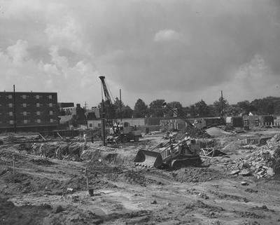 Construction of Haggin Hall. Haggin Hall was named after James B. Haggin and dedicated on September 16, 1960. Received August 5, 1959 from Public Relations
