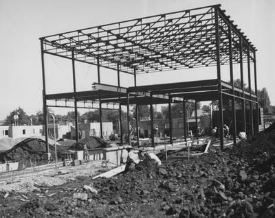 Haggin Hall, a men's dormitory, under construction. Haggin Hall was named after James B. Haggin and dedicated on September 16, 1960. Received September 8, 1959 from Public Relations