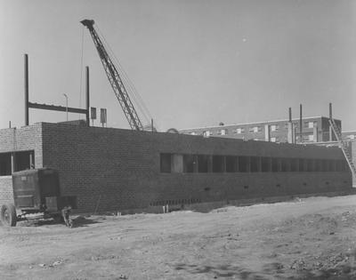 Haggin Hall, a men's dormitory, under construction. Haggin Hall was dedicated on September 16, 1960 and was named after James B. Haggin. Received October 6, 1959 from Public Relations