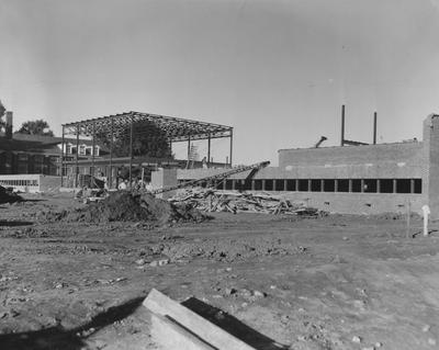 Haggin Hall, a men's dormitory, under construction. Haggin Hall was dedicated on September 16, 1960 and was named after James B. Haggin. Received October 22, 1959 from Public Relations