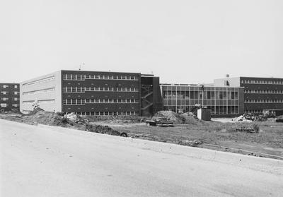 Construction of Haggin Hall is nearing completion. Haggin Hall was dedicated on September 16, 1960 and was named after James B. Haggin. Received June 7, 1960 from Public Relations