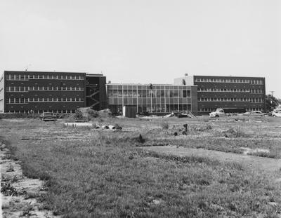 Construction of Haggin Hall is nearing completion. Haggin Hall was dedicated on September 16, 1960 and was named after James B. Haggin