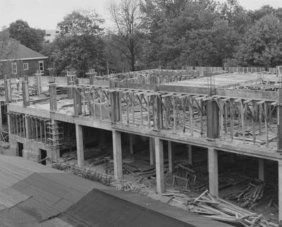 Construction of Keeneland Hall, a woman's dormitory. Keeneland Hall was named after the Keeneland Foundation which donated $200,000 and on October 17, 1955, it was dedicated to the foundation
