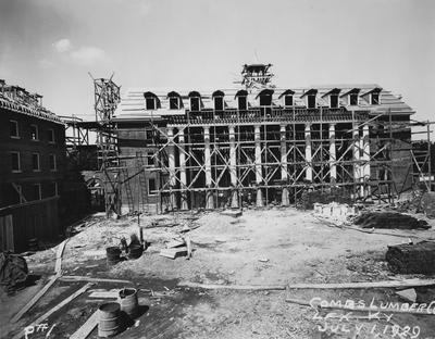 Construction of Kinkead Hall, a men's dormitory. Kinkead Hall was built in 1929 and was named after William B. Kinkead. Photographer: La Fayette Studio