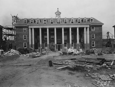 Construction of Kinkead Hall, a men's dormitory. Kinkead Hall was built in 1929 and was named after William B. Kinkead. Photographer: La Fayette Studio