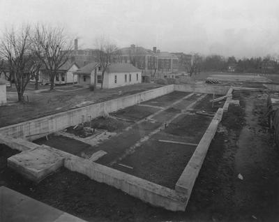 Construction of Breckinridge Hall, Kinkead Hall, and Bradley Hall in 1929. Construction of Bowman Hall was not until after World War II. Received February 7, 1929 from the Superintendents Office