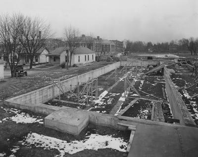 Construction of Breckinridge Hall, Kinkead Hall, and Bradley Hall in 1929. Construction of Bowman Hall was not until after World War II. Photographer: La Fayette Studio
