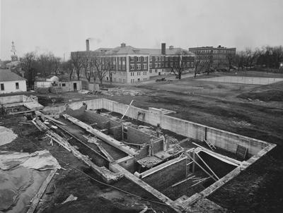 Construction of Breckinridge Hall, Kinkead Hall, and Bradley Hall in 1929. Construction of Bowman Hall was not until after World War II. Photographer: La Fayette Studio. Received February 7, 1929 from the Superintendents Office