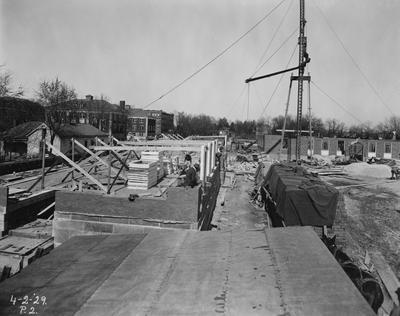 Construction of Breckinridge Hall, Kinkead Hall, and Bradley Hall in 1929. Construction of Bowman Hall was not until after World War II. Photographer: La Fayette Studio
