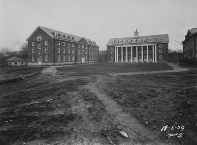 Courtyard with men's residence halls. Left to right; Breckinridge Hall (1929), Kinkead Hall (1929), and Bradley Hall (1921) Construction of Bowman Hall was not until after World War II. Photographer: La Fayette Studio