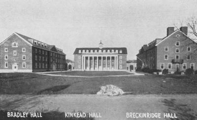 Left to right: Bradley Hall (1921), Kinkead Hall (1929), and Breckinridge Hall (1929)