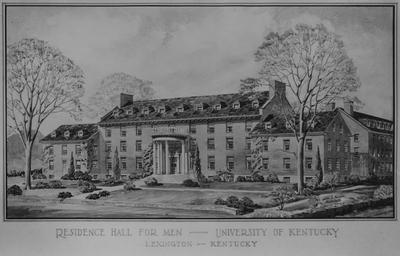 An architectural drawing of Bowman Hall. Construction began in 1946, was finished on March 19, 1948, and was dedicated on June 4, 1948. Bowman Hall was named after John Bryan Bowman. Architect: John F. Wilson