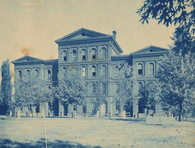 View of the front side of White Hall, with the Administration building to the left.  The
