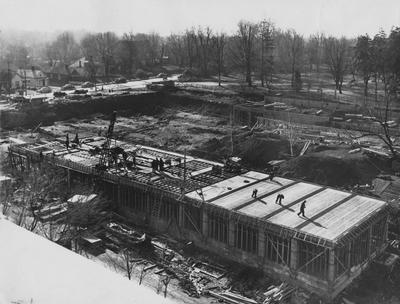 Construction of the Fine Arts Building. Photographer: W. E. Sutherland