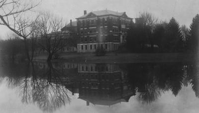 A view of Frazee Hall from across the lake. Frazee Hall was built in 1907 and named after David Frances Frazee on June 3, 1931. On January 24, 1956, the building was partially destroyed by a fire