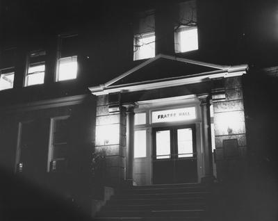 The front entrance of Frazee Hall at night. Frazee Hall was built in 1907 and named after David Frances Frazee on June 3, 1931. On January 24, 1956, the building was partially destroyed by a fire