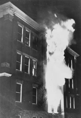 Frazee Hall being destroyed by a fire on January 24, 1956.