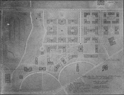 This plan shows the buildings that will be destroyed (shown in outline only), buildings that will remain with this plan (shown crosshatched and designated with letters