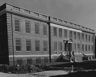From left angle, the front side of the Grehan Journalism Building. The Journalism Building was dedicated on November 2, 1951 and named after Enoch Grehan. It is also the home to the independent student newspaper,