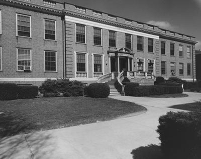 The front side of the Grehan Journalism Building. The Journalism Building was dedicated on November 2, 1951 and named after Enoch Grehan. It is also the home to the independent student newspaper,