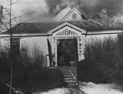 Fire destroyed the Guignol Theater on Euclid Avenue in 1947. This image is in the C. J. Magazine, Issue June 22, on page 24, image number one. Photographer: W. E. Sutherland