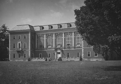 Exterior of the front of the Margaret I. King Library with porch, now it has no porch