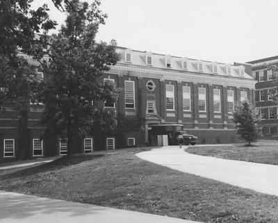 Exterior of King Library; completed 1931 and addition completed August of 1962. Received September 17, 1962 from Public Relations