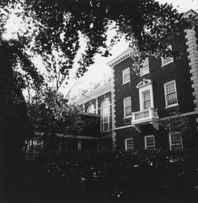 Back side of Margaret I. King Library South exterior with bridge. This photo appeared on the cover of