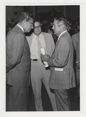 President Singletary (left) conversing with Governor Wendell Ford (right) and an unidentified man (center) at the dedication of Jefferson Community College of Learning Resources Center