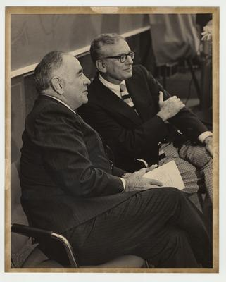 Former President John Oswald (left) and President Otis Singletary (right) at the LTI dedication.  LTI is the Lexington Technical Institute which was later called Lexington Community College.  The building being dedicated was named for John W. Oswald