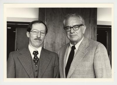 President Singletary (right) is standing with Dr. Al Domek (left) of the College of Fine Arts, School of Music
