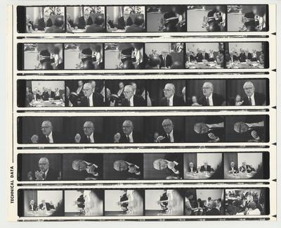 A proof sheet of President Singletary speaking at an unidentified meeting