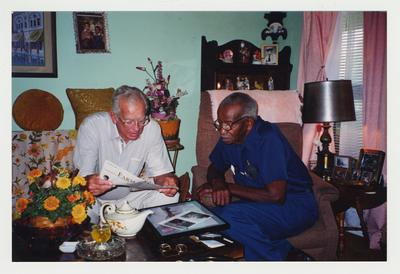 Dr. Singletary and Moses Gaines of Russellville, Kentucky.  Moses Gaines was a World War II navy buddy of Dr. Singletary.  Dr. Singletary is visiting Moses Gaines' home