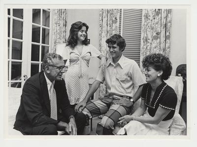 President Singletary and his family in Maxwell Place.  From the left:  President Singletary, Kendall, Scott, and Gloria