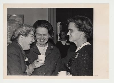 From the left:  Dr. Winona Stevens Jones, Rosanel Oswald, and Mrs. James Ireland at a reception