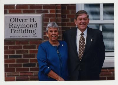 Oliver H. Raymond (right, Alumnus of the College of Engineering) and his wife Anne Hart Raymond (left) at the dedication of the Oliver H. Raymond Building