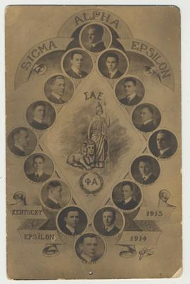 Members of Sigma Alpha Epsilon at the University of Kentucky from 1913 - 1914.  Clockwise from the top:  B. H. Lowry, W. T. Radford, W. J. Harris, G. E. Kelly, E. B. Webb, D. L. Chestnut, E. S. Penick, R. K. Catlett, G. A. Rice, S. J. Lowry Jr., R. E. Neuhaus, J. H. Evans, T. W. Lowry, L. B. Evans, J. T. Jackson Jr., and R. F. Albert