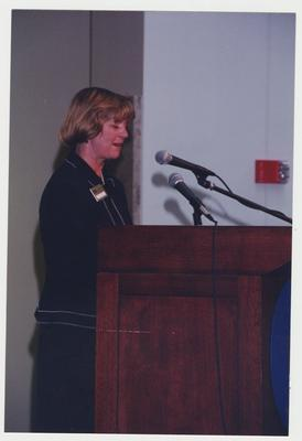 Carol Diedrichs, Dean of Libraries, is speaking at Dr. Thomas D. Clark's 100th birthday celebration at Young Library