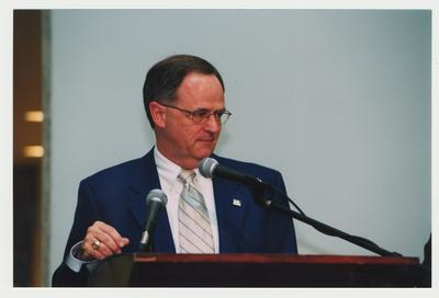 President Lee Todd is speaking at Dr. Thomas D. Clark's 100th birthday celebration at Young Library