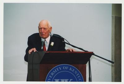 Thomas Clark is speaking at his 100th birthday celebration at Young Library