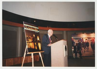 Dr. Thomas D. Clark is speaking at the event for the publishing of the
