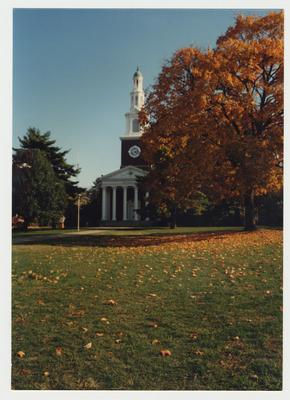 The exterior of Memorial Hall during the fall season