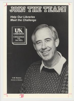 Athletic Director C. M. Newton is featured on campaign materials for William T. Young Library