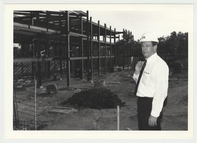 President Charles Wethington is watching the construction of the William T. Young Library