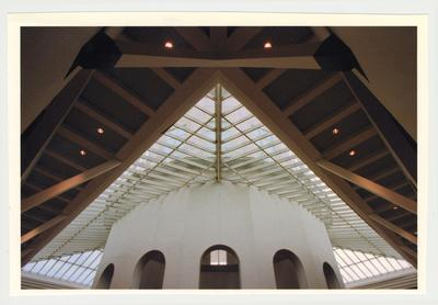 An interior view of the ceiling and the cupola of the newly completed William T. Young Library